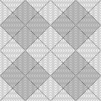 Gray seamless geometrical pattern. Simple monochrome texture. Abstract background.Slim gray wavy striped squares.