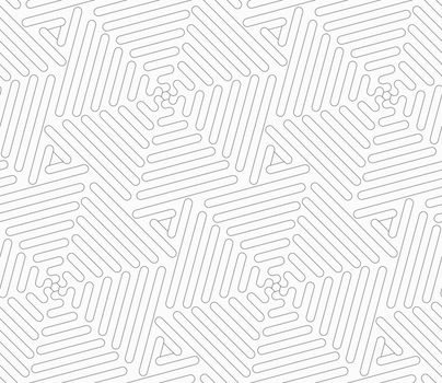 Gray seamless geometrical pattern. Simple monochrome texture. Abstract background.Slim gray wavy triangles forming hexagons.