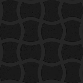 Seamless geometric background. Pattern with 3D texture and realistic shadow.Textured black plastic arched solid rectangles.
