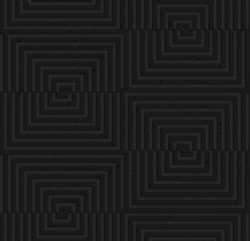 Seamless geometric background. Pattern with 3D texture and realistic shadow.Textured black plastic cut and shifted squares.