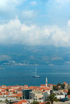 Top view of the seacoast of Budva, Montenegro.