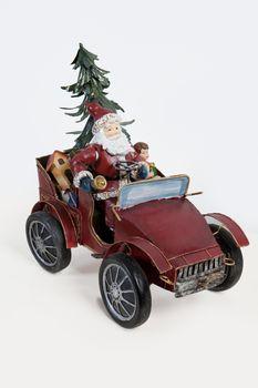 Santa Klaus In A Car