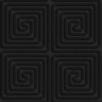 Seamless geometric background. Pattern with 3D texture and realistic shadow.Textured black plastic square spirals.Textured black plastic square spirals reflected.