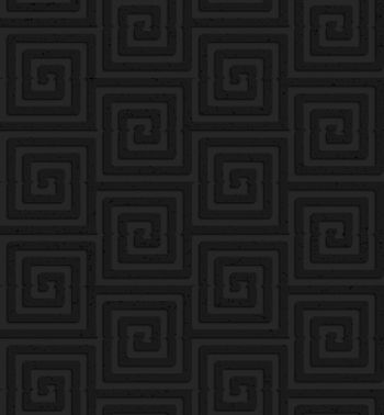 Seamless geometric background. Pattern with 3D texture and realistic shadow.Textured black plastic square spirals.