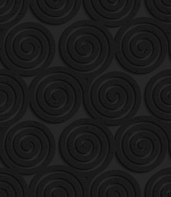 Seamless geometric background. Pattern with 3D texture and realistic shadow.Textured black plastic three spirals.