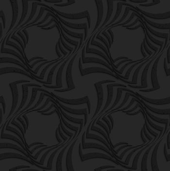 Seamless geometric background. Pattern with 3D texture and realistic shadow.Textured black plastic twisted big squares.