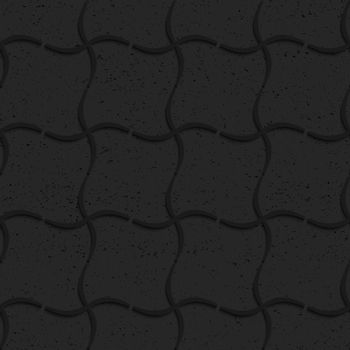 Seamless geometric background. Pattern with 3D texture and realistic shadow.Textured black plastic wavy grid.