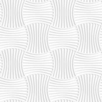 Paper white 3D geometric background. Seamless pattern with realistic shadow and cut out of paper effect.White paper 3D five striped wavy pin will rectangles.