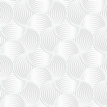 Paper white 3D geometric background. Seamless pattern with realistic shadow and cut out of paper effect.White paper 3D slim stripes small circle pin will.