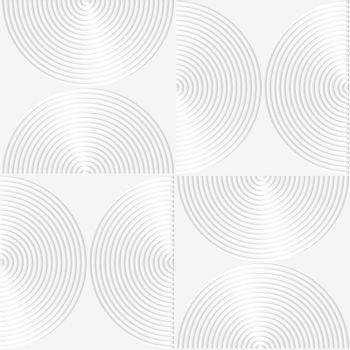 Paper white 3D geometric background. Seamless pattern with realistic shadow and cut out of paper effect.White paper 3D striped semi circles.