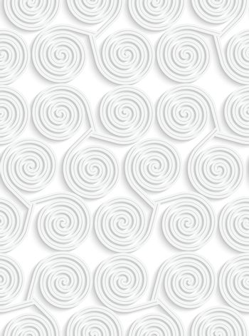 Paper white 3D geometric background. Seamless pattern with realistic shadow and cut out of paper effect.White paper 3D three spirals.