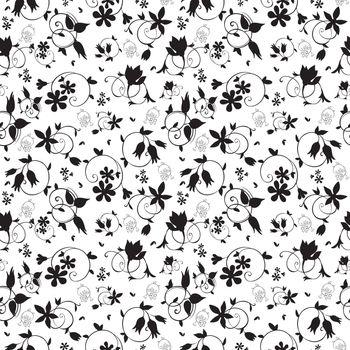 Vector Black White Swirl Floral Texture Seamless Pattern graphic design