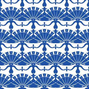 Vector Royal Blue Turskish Floral Abstract Seamless Pattern graphic design