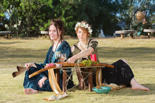 Beautiful Pagan Women at Altar