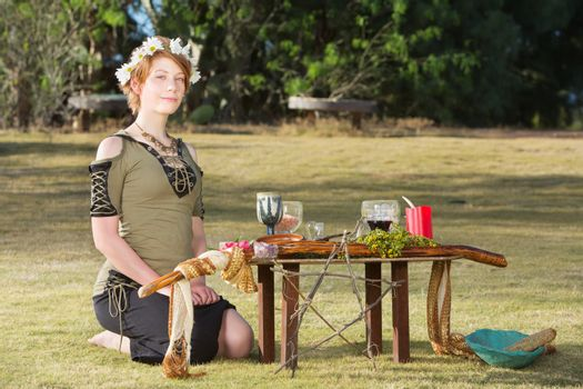 Cute Pagan Woman with Wreath