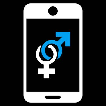 Mobile Dating vector icon. Style is bicolor flat symbol, blue and white colors, rounded angles, black background.