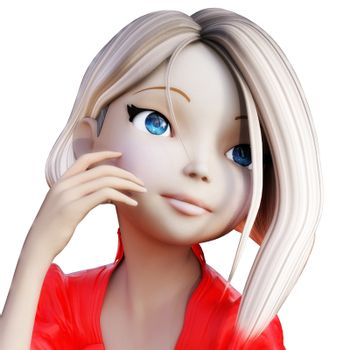 Digital 3D Illustration of a Toon Girl, Cutout on white Backgrou