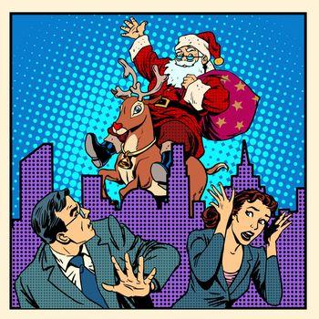 Nightmare holidays Santa Claus on reindeer and panic people