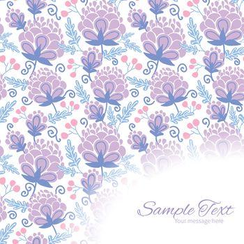 Vector soft purple flowers frame corner pattern background graphic design