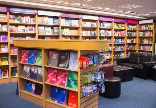 Couches and bookshelf