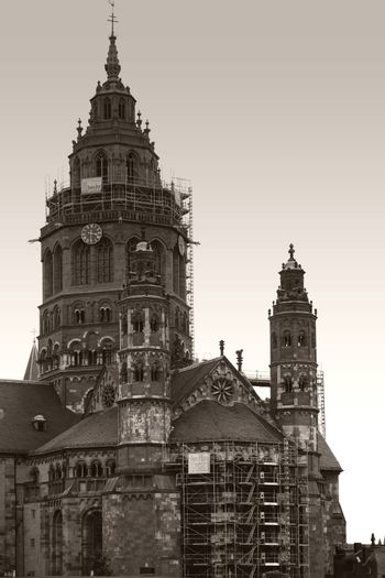 Mainz, Germany - September 11, 2015: The portrait of the Mainz Cathedral with the two small choir towers and the large west tower on September 11, 2015 in Mainz.