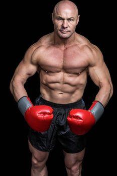 Portrait of boxer flexing muscles
