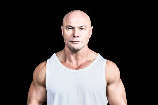 Portrait of confident bald man