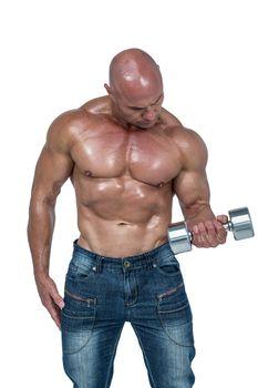 Bald man lifting dumbbells