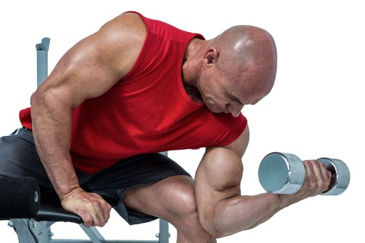 Bald man exercising with dumbbells while sitting on bench press