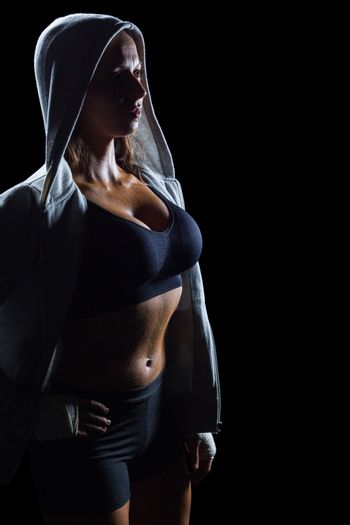 Sexy athlete in hood