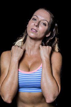Portrait of seductive female athlete