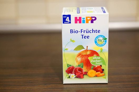 POZNAN, POLAND - SEPTEMBER 24, 2015: Hipp fruit tea for babies in a box