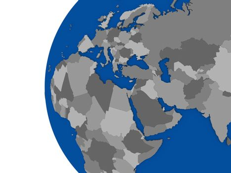 EMEA region continent on political globe