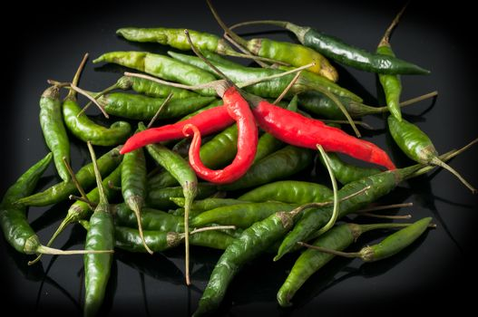 green chili peppers and red