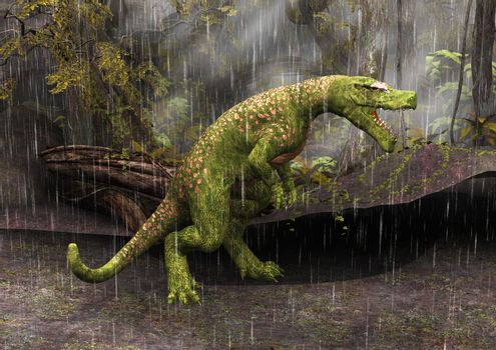 Tyrannosaurus Rex in the rain in a fantasy forest