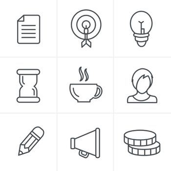Line Icons Style   Business Icons Set, Vector Design