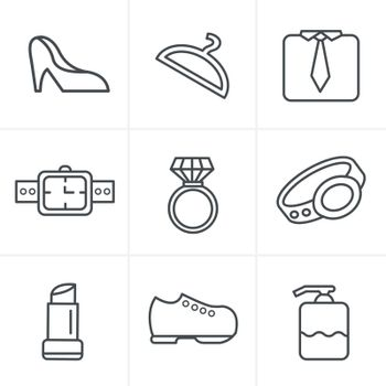 Line Icons Style Fashion Icons Set, Vector Design