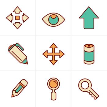Icons Style Set of Icons Set, Vector Design