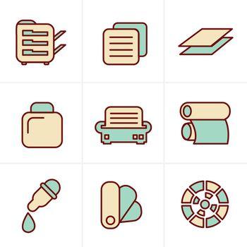 Icons Style Icons Style  Print icons set elegant series