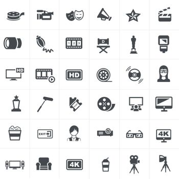 Cinema And Movie Icons Set Design.