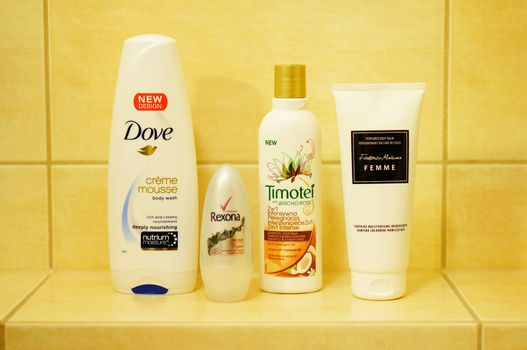 POZNAN, POLAND - JANUARY 30, 2014: Different skin care products in the bathroom