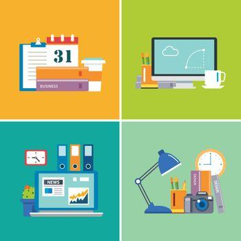 set of flat design workspace.designer,business,student