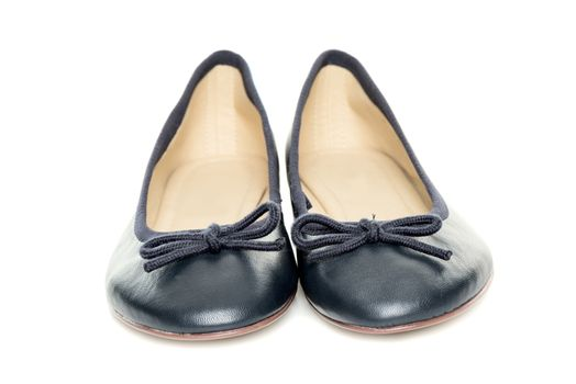 Pair of female shoes over white background front view