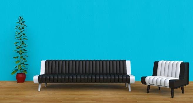 Modern Living Room Teal