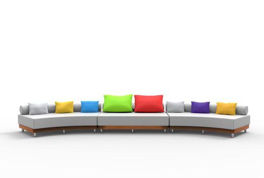 Big Sofa With Colorful Cushions