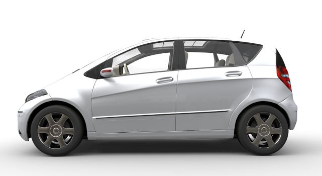 Modern Compact Car Chrome Side