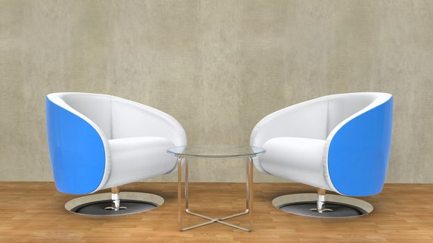 Modern white armchairs with blue details on the sides - Living Room