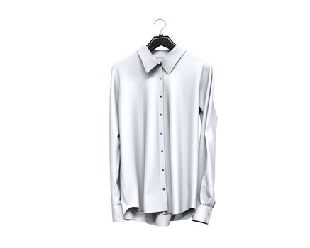 White long sleeve shirt front view.