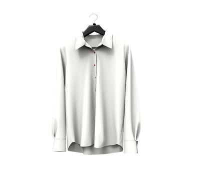 White long sleeve shirt on white background.