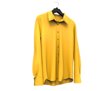 Yellow long sleeve shirt isolated on white background.